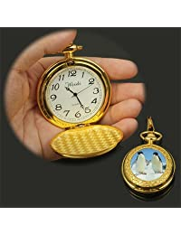 Tangyongjiao Relojes fashionalbe Moda Oro pingüino patrón Movimiento de Cuarzo Reloj de Bolsillo con Gancho