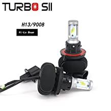 Turbo SII 9008 Led Headlight Conversion Kits H13 High Low Beam Headlight Bulbs 8000Lm SEOUL-Y19 CSP Chips All in One LED Car Light Replace for Halogen or HID Bulbs