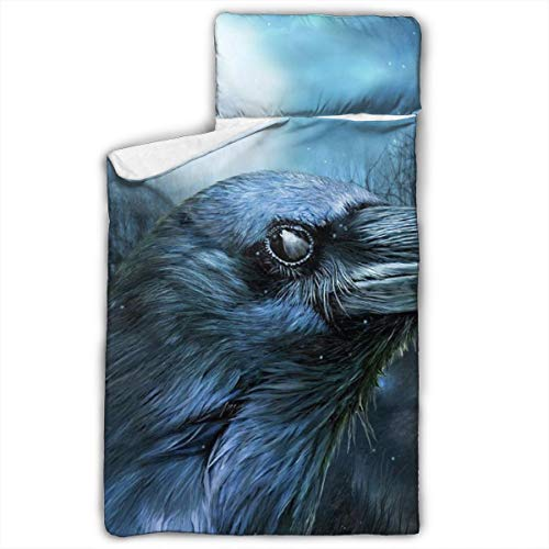 DerdYoaa Children's Nap Mat Raven Wolf in The Moonlight Foldable Premium Kids Soft Sleeping Blanket Pillow Slumber Bag for Boys Girls Preschool Travel 50 X 20 Inch (Ravens Bag Sleeping)