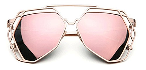 Coolzdt Womens' Sunglasses Flat Lens Metal Vintage Fashion Sunglasses - Sunglass Oklay
