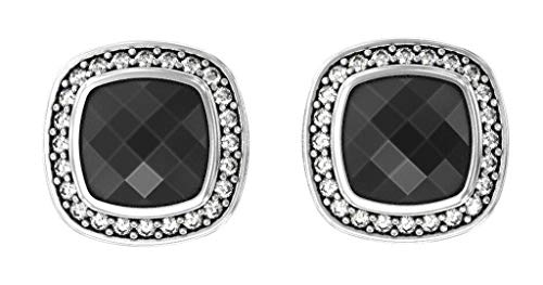 Gempara Designer Inspired 14K White Gold Plated 11x11mm Albion Stud Earrings with Black Onyx and VS1 Clarity Simulated Diamonds