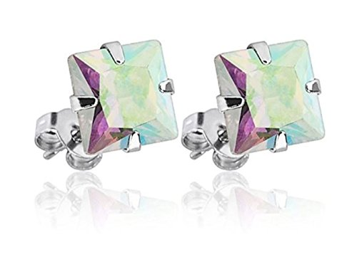 (Surgical Stainless Steel Studs Earrings For Men Women boys Girls with Princess Cut Square CZ Cubic Zirconia Hypoallergenic Earrings (7X7 Princess Cut Rainbow))
