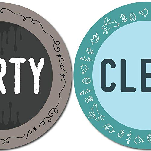 Dishwasher Clean Dirty Magnet Sign Double Sided Round Design with Magnetic Plate Universal Magnetic Sign (A) Aqua