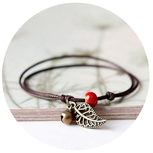 Ceramic Beaded Bracelet Anklet Couples Boudoir Bohemian Vintage Pendant Rope Chain Bracelet Ornament Unisex E-84,4 by Rankei bracelets