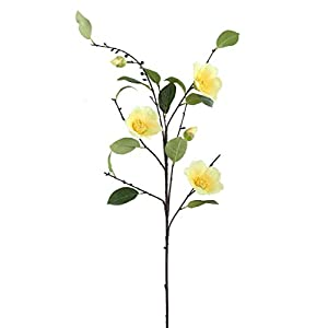 """1pc, Camellia Artificial Flower in Yellow - 38"""" Tall 21"""