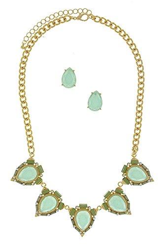 KARMAS CANVAS VICTORIAN TEARDROP NECKLACE SET (Light Blue) (Custom Costume Hip Hop Jewelry)