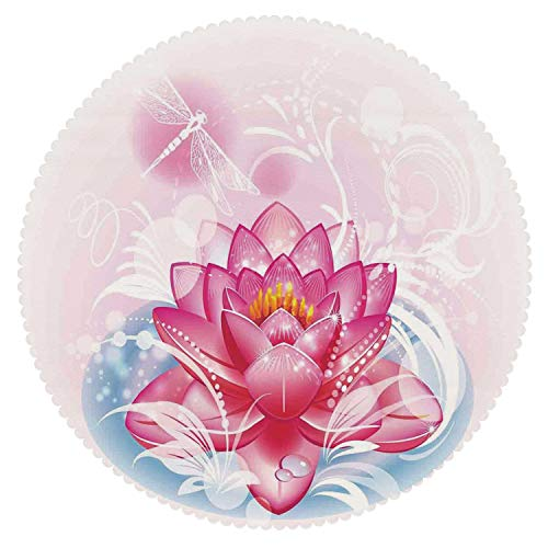 iPrint Eco-Friendly Round Tablecloth [ Flower,Mandala Motif Orient Yoga Theme Lotus Flower Figure with Abstract Mantis and Dots Photo,Pink ] Fabric Home ()