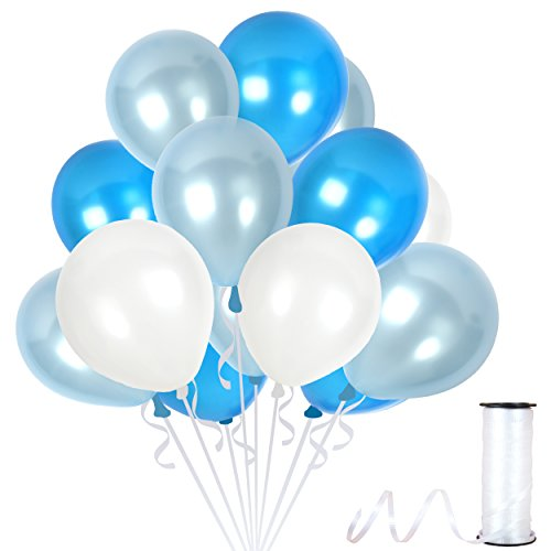 Treasures Gifted Navy Blue and White Balloons Set Bouquet in Metallic Latex for Frozen Party Baby Shower Birthday Gender Reveal Bachelorette Party Supplies (100 Pack) ()