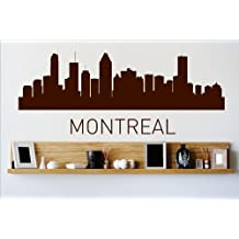 Vinyl Wall Decal Sticker : Montreal Skyline City View Beautiful Scene Landmarks, Buildings & Water Bedroom Bathroom Living Room Picture Art Peel & Stick Mural - Discounted Sale Price Size: : 6 Inches X 20 Inches - 22 Colors Available