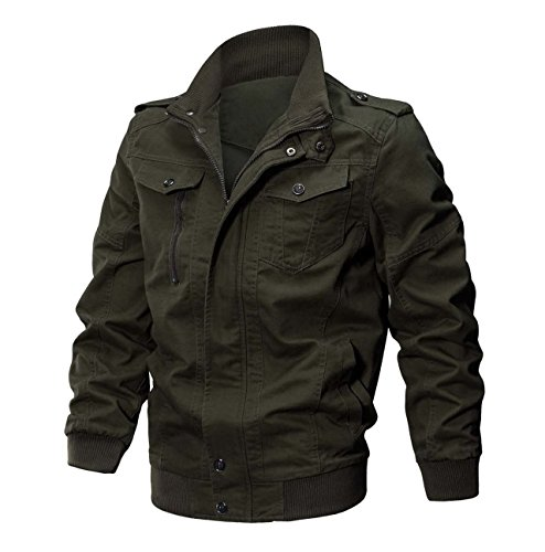 CRYSULLY Men's Fall Winter Fashion Classic Outdoor Jacket Enclosure Army Coats Flight Jacket Green/US S/Tag L