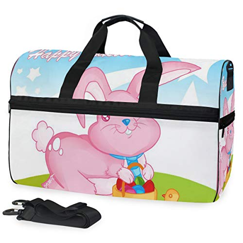 Gym Bag Easter Bunny Drawing Sport Travel Duffel Bag with Shoes Compartment Large Capacity for Men/Women