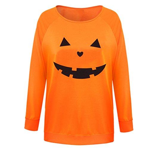 (Rysly Womens Sexy Halloween Pumpkin Sweatshirts Pullover Costumes Plus Size L)