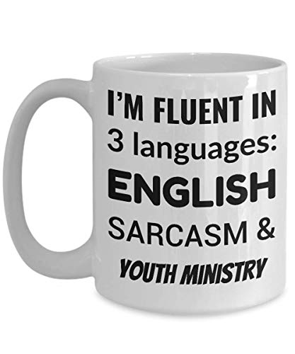 YOUTH MINISTER Coffee Mug - I'm Fluent In 3 Languages - English Sarcasm and Youth Ministry ()