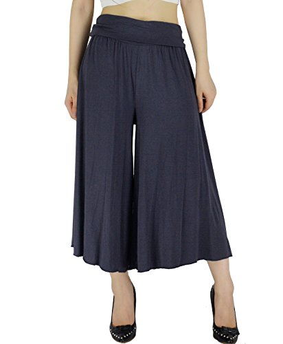YSJ Women's Fold Over Waist Palazzo Yoga Lounge Pants Wide Leg Culottes Trousers (L, Smoky Gray Short (Cotton Wide Leg Pants)