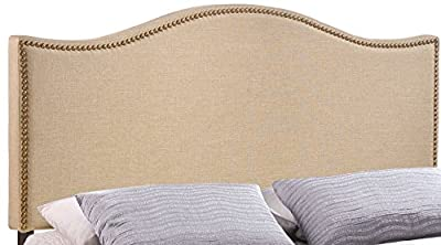 Modway Curl Upholstered Linen Headboard Queen Size With Nailhead Trim and Curved Shape