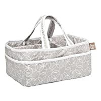 Dejaroo Baby Wipe Storage Bin - Nursery Organizer Caddy - Embroidered Eco-friendly Grey Linen (GREY)