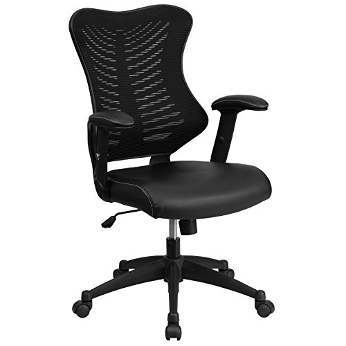 Back Adjustable Leather - Flash Furniture High Back Designer Black Mesh Executive Swivel Chair with Leather Seat and Adjustable Arms