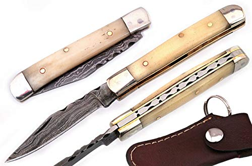 Damascus Mini Trapper - Beautiful Camel Bone 5'' Damascus Steel Single Blade Mini Trapper Folding Knife 100% Prime Quality Key Chain Knife with Leather Sheath