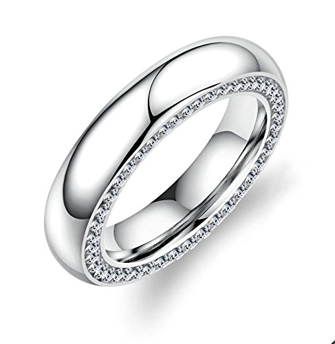 ANAZOZ Jewelry Stainless Steel Ring for Women Smooth Side Cz White Size 7