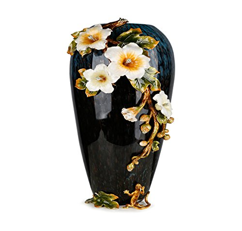 Enameled Glass Vase (RORO Wedding Gift, Enameled and Jeweled Bohemia Crystal Flower Vase, Swarovski Decoration, Luxury Home Accessories)