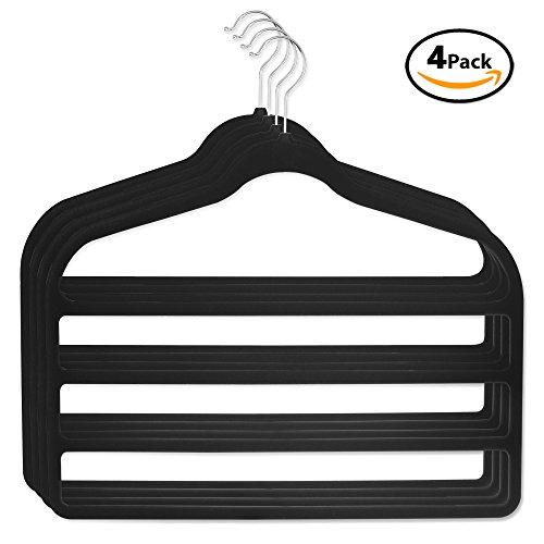 Best Pant Hangers (DG Sports Hanger for pants Bar Pants Velvet Hangers - 4 Pack - Space Saving (Black))