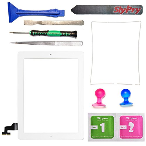 Prokit Adhesive® New white iPad 2 Digitizer Touch Screen Front Glass Assembly - Includes Home Button + Camera Holder + PreInstalled Adhesive with SlyPry tools kit (White)