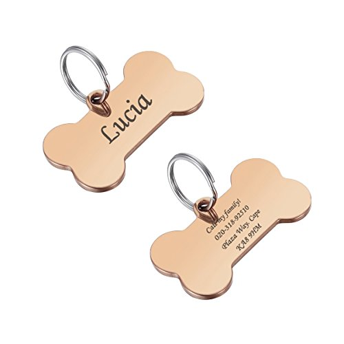 Valyria Stainless Steel Custom Engraved Rose Gold Bone Pet ID Tags for Large Dogs 29mmx50mm(1 1/8