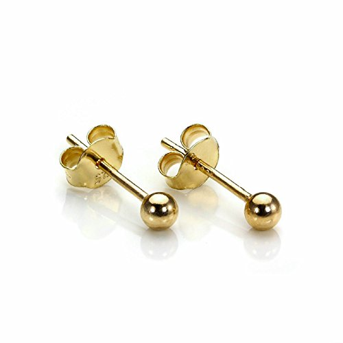 Earrings Gold Solid Plated (925 Solid Sterling Silver Ball Ear Studs in Gold & Rose Gold Color with Butterfly Backing in Diferent Sizes 3,4,5,6,8,10 & 12 Mm (Gold-plated-silver, 3 Millimeters))