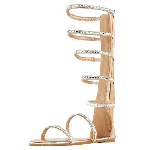 DREAM PAIRS Women's Athena-HIGH-Shine Rose Gold Fashion Gladiator Design Knee High Flat Sandals Size 9 M US ()