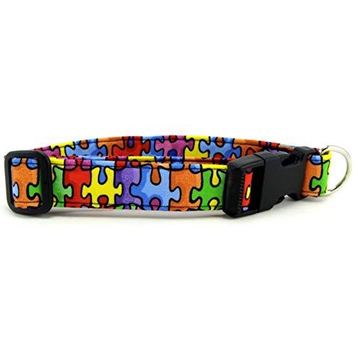 Awareness Dog Collar - K9 Bytes Autism Awareness Rainbow Puzzle Dog Collar Medium