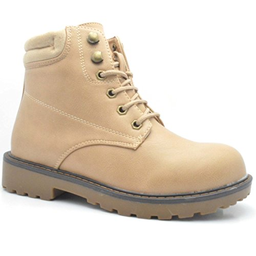 Winter 6 Beige UK Shoe Combat Boots Ladies Flat SHOEWORLD 920 Ladies Ankle Womens Army Sole Grip qEaTSw6