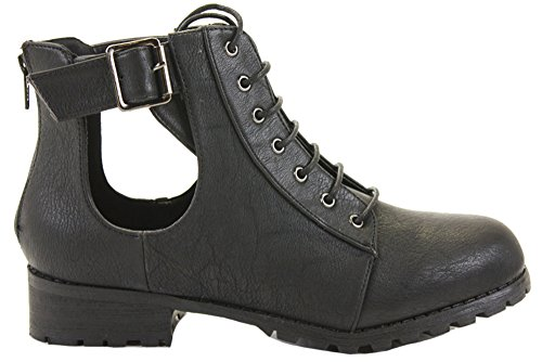 Womens Ladies Flat Low Heel LACE UP Chelsea Style Pixie Ankle Boots Shoes Size Style T - Black