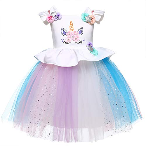 LZH Baby Girls Unicorn Dress Birthday Pageant Princess Party Tutu Costumes Rainbow Dress, Sequin, 120(for ag