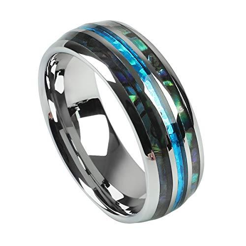 2People Men's 8mm Tungsten Carbide Ring Men Women Wedding Rings for Gift Blue Abalone Shell Rings (7.5) -