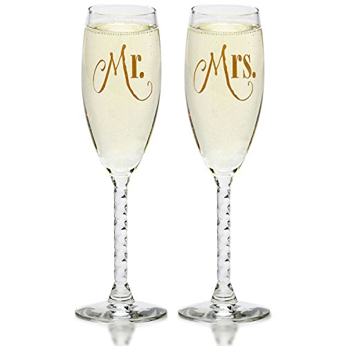 (Mr. & Mrs. Gold Champagne Flutes With Gift Box - Wedding Glasses For Bride & Groom - Toasting Gift Sets - For Couples - Engagement, Wedding, Anniversary)