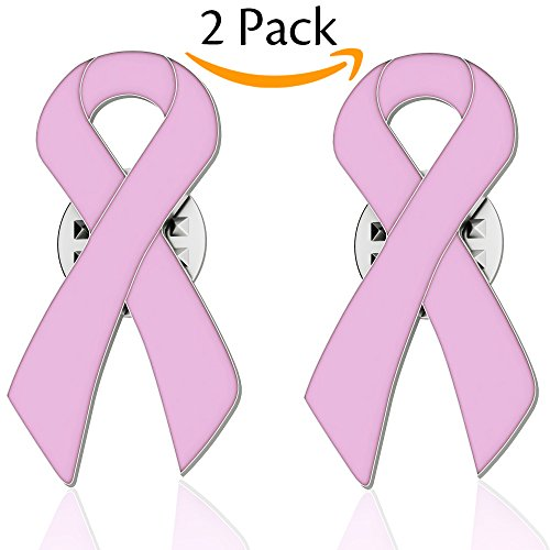 Cancer Pin (Bassion 2 Pack Pink Ribbon Breast Cancer Awareness Lapel Pins)