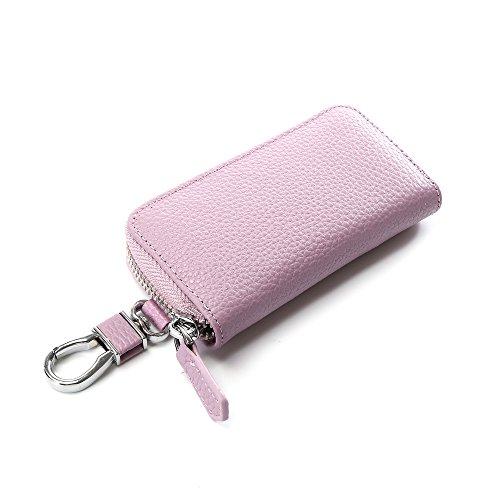 6 Key Holder Wallet (Key Holder Case, Wallet with Key Case, Six Key Holder Wallet Key Case Leather Mens (LightPurple))