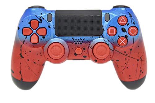 Hand Airbrushed Fade Playstation 4 Custom Controller with Colored Inserts (Blue & Red)