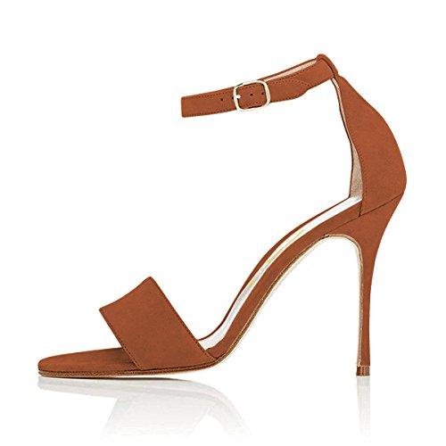 Fsj Donne Sera Cinturino Alla Caviglia Sandali Con Fibbia Open Toe Stiletto Tacchi Alti Scarpe Da Donna Taglia 4-15 Us Marrone