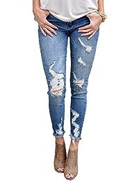 Womens Blue Distressed Destroyed Fringe Skinny Jeans Pants