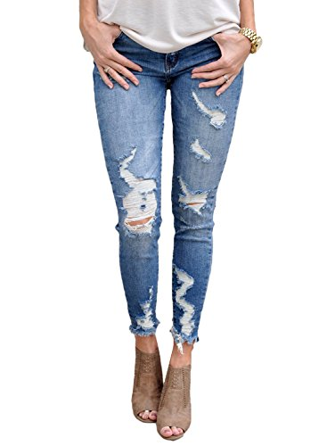 Dokotoo Womens Ladies Juniors Autumn Ripped Stretched Destroyed Hole Denim Wash Blue Distressed Skinny Jeans Pant Small - Skinny Blue Wash