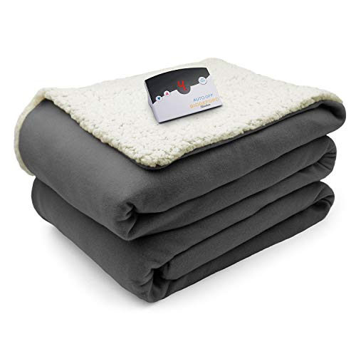 Biddeford Comfort Knit Fleece Sherpa Electric Heated Blanket Full Gray