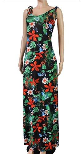Dress Maxi Women's Print Floral Swing Jaycargogo Beach Sleeveless Summer 8 aqOxH