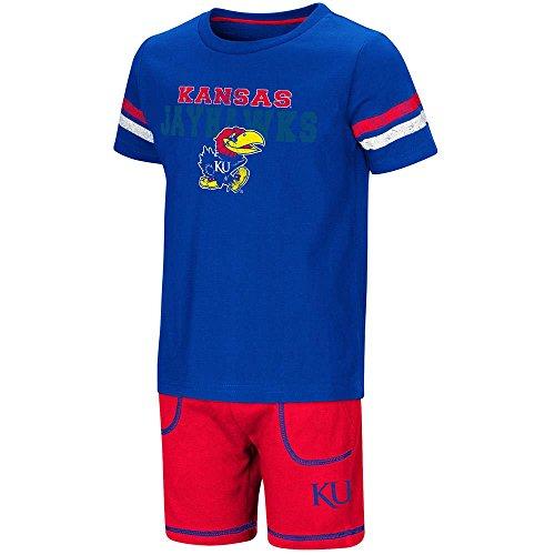 Colosseum Toddler Kansas Jayhawks Short Sleeve Tee Shirt and Shorts Set - 3T