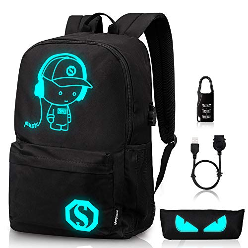 Luminous School Backpack,Ezonteq Anime Cartoon Music Boy Shoulder Laptop Travel Bag Daypack College Bookbag Night Light for Students with USB Charging Port,Lock and Pencil Case 35L (No Power Source) -