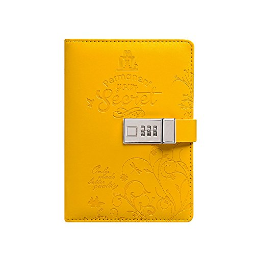 ToiM Rainbow Theme Colorful PU Leather Journal Writing Notebook Daily Notepad with Combination Lock and Pen Holder, B6 Size Password Diary (without Chinese or Japanese) (Yellow) by ToiM