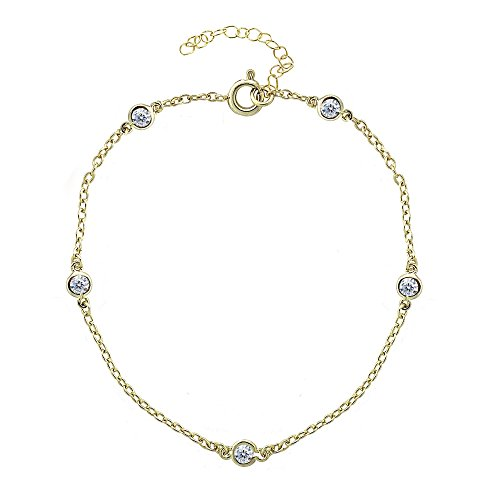 GemStar USA Yellow Gold Flashed Sterling Silver Cubic Zirconia Station Dainty Chain Anklet ()
