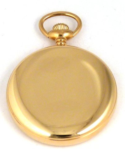 Dueber Swiss Mechanical Pocket Watch, High Polish Gold Open Face Case, Assembled in USA!