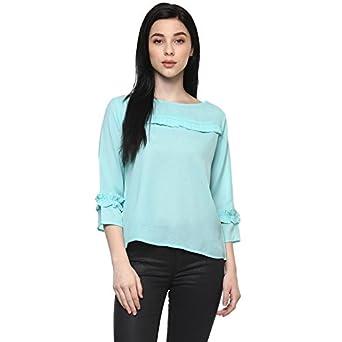 1edd1d6fc2754 Pannkh Women s Sea Green Polyester Pleated Plain Solid Top  Amazon ...