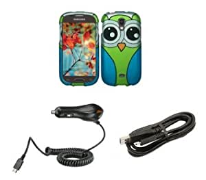 Bloutina Samsung Galaxy Light T399 (T-Mobile) - Premium Bundle Pack - Green and Blue Owl Design Shield Case + Atom LED...